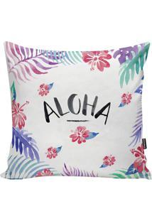 Capa De Almofada Aloha- Branca & Preta- 45X45Cm-Stm Home