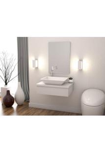 Conjunto Bancada Para Banheiro Com Cuba Aria Rt41 E Espelheira 601W Metrópole Compace Branco Chess