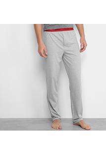 Calça De Pijama Calvin Klein Elástico Estampado Masculina - Masculino-Mescla
