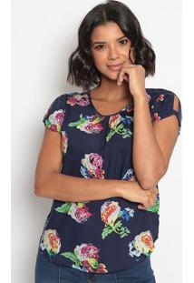 Blusa Floral Com Recorte Torcido-Azul & Branca-Vip Rvip Reserva