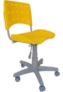 Cadeira Giratória Ergoplax Plástica Base Cinza - Amarelo