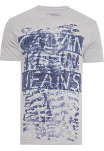 Camiseta Masculina Estampa Frontal - Cinza