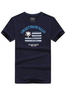 Camiseta Masculina Collect Trendy Manga Curta - Azul Escuro