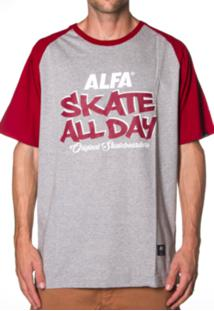 Camiseta Raglan Alfa Skate All Day Cinza
