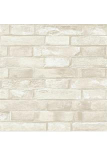 Papel De Parede Estilo Natural Tijolo Bege E Branco 0.53X10M