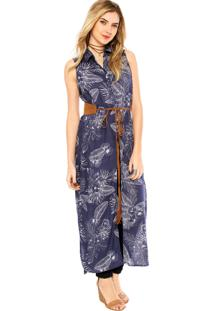 Camisa Malwee Floral Azul