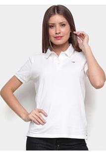 Camisa Polo Tommy Jeans Classics Feminina - Feminino-Branco