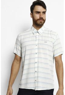 Camisa Slim Fit Listrada Com Botãµes - Branca & Verdeogochi