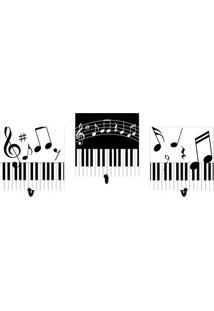 Jogo De Cabideiros Music- Branco & Preto- 3Pã§S- Kapos