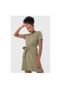Vestido Dzarm Curto Amarração Verde
