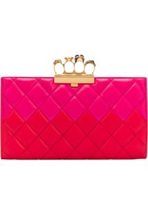 Alexander Mcqueen Skull Four-Ring Quilted Clutch Bag - Rosa