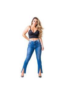 Calça Jeans Flare Zune Feminina Fenda Macia Dia A Dia Casual Azul 36 Azul