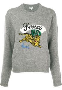 Kenzo Suéter Bordado - Cinza