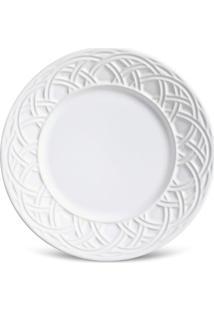 Prato Sobremesa Cestino Cerâmica 6 Peças Branco Porto Brasil