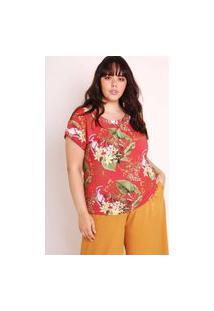 Blusa Almaria Plus Size Munny Estampada Natureza Vermelho