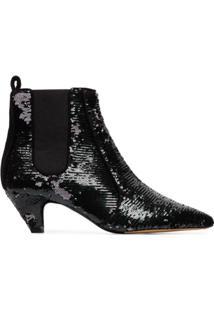 Tabitha Simmons Ankle Boot 'Effie 50' Com Paetês - Preto