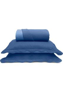Conjunto De Colcha Metrópole Queen Size- Azul- 3Pçs
