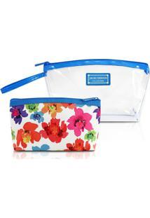 Kit Necessaire De 2 Unidades Jacki Design Microfibra + Pvc - Feminino-Azul