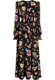 Versace Jeans Couture Vestido Longo Com Estampa Versailles - Preto