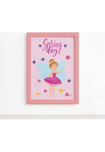 Quadro Fadas E Flores Primavera Rosa Moldura Rosa 22X32Cm - Multicolorido - Dafiti