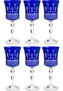 Jogo De Taças Para Vinho 6 Peças 250 Ml Grace - Bohemia - Azul