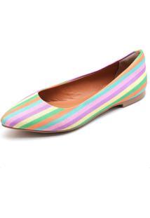 Sapatilha Feminina Bico Fino Top Franca Shoes Arco Iris