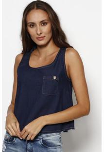 Blusa Jeans Com Bolso - Azul Escuro- Tuaregtuareg