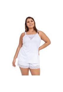 Pijama Short Doll Baby Doll Imi Lingerie Em Microfibra E Renda Plus Size Cecília Branco