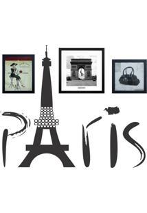Conjunto Com 3 Quadros Decorativos E 1 Adesivo Paris L Preto