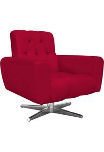 Poltrona Decorativa Pietra Suede Vermelho Com Base Estrela Giratória Em Aço Cromado - D'Rossi