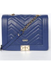 Bolsa Transversal Em Couro Matelassãª- Azul Escuro & Douriã³Dice