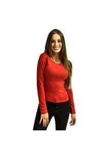 Camiseta Nakia Manga Longa Básica Feminina Lisa Malha Vermelha