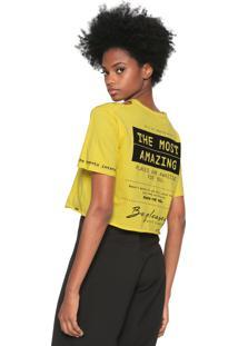 Camiseta Dimy Lettering Recortes Amarela