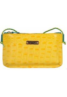 Bolsa Transversal Artlx Feminina De Couro - Feminino-Amarelo