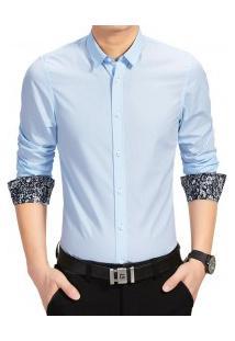 Camisa Masculina Manga Longa Com Detalhe Floral - Azul Claro