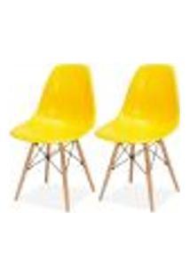 Kit 02 Cadeiras Decorativas Eiffel Charles Eames F03 Amarelo Com Pés De Madeira - Lyam Decor