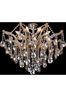 Plafon Sobrepor De Cristal Teia 60Cmx70Cmbella Iluminação Champagne