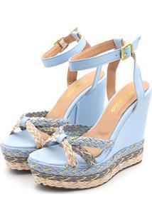 Sandália Anabela Espadrille Salto Alto Flor Da Pele Em Napa Azul Serenety Com Detalhes
