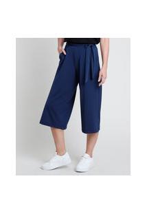 Calça Feminina Pantacourt Com Bolsos E Faixa Para Amarrar Azul Marinho