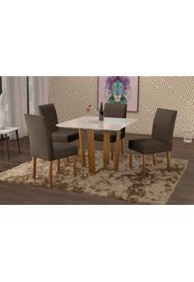 Conjunto De Mesa De Jantar Com 4 Cadeiras E Tampo De Madeira Maciça Valencia Ii Suede Grafite E Off White