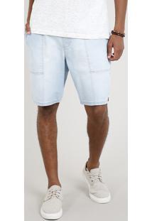 Bermuda Jeans Masculina Com Cordão Azul Claro