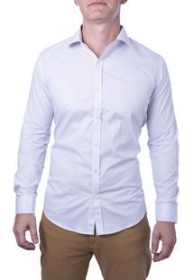 Camisa Alfaiataria Burguesia Em Poá Branca Com Bolinhas Micro Pretas