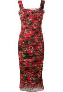 Dolce & Gabbana Vestido Floral Com Tule - Vermelho