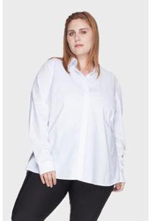 Camisa Evasê Bold 100% Algodão Plus Size -50 Feminina - Feminino-Branco