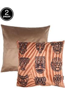 Kit 2Pçs Capas Para Almofada Stm Home Veludo Digital African Masks Marrom