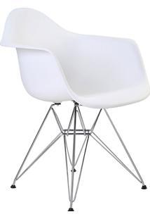 Cadeira Com Braço Pp Base Cromada Eiffel -Rivatti - Branco