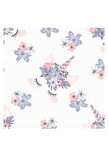 Papel De Parede Unicórnio Glamour E Flores 57X270Cm