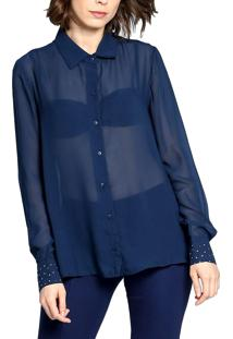 Camisa Manga Longa Energia Fashion Transparente Azul Marinho
