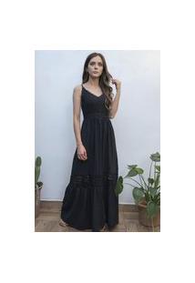 Vestido Hora De Diva Longo Com Guipir Rodado Preto