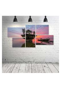 Quadro Decorativo - Michigan-Lake-Huron-Sunset-Rock-Trees - Composto De 5 Quadros